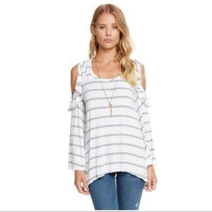 CHASER White Gray Striped Cold Shoulder Top M NEW